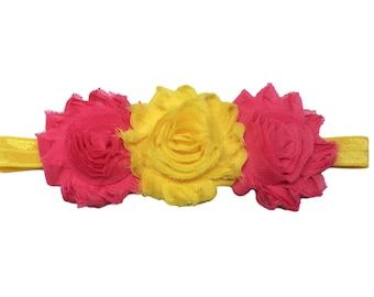 Pink Yellow Headband - Flower Headband - Baby Headband - Newborn Headband - Cake Smash Headband - Toddler Headband - Yellow Pink Headband