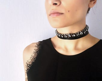 Black Statement Choker Necklace, Rhinestone Choker, Leather Necklace for Women, Wrap Choker