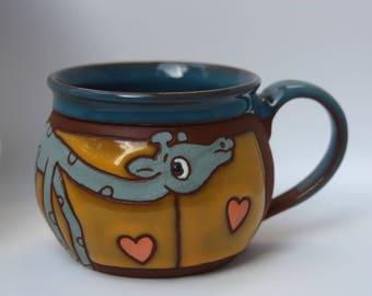 giraffe coffee mug, handmade mug ceramic, animal mug, ceramic mug giraffe, pottery coffee cup, pottery handmade, pottery mug, ceramic mug