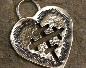 Südwestlich Kreuz ausgeschnitten Herz Sterling Silber Anhänger