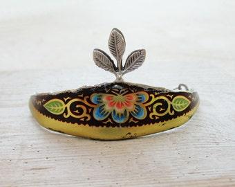 Vintage Tin Bracelet Soldered Hammered Leaves and Flowers Art Nouveau