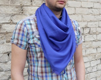 Blue Men Scarf / Cotton Square Scarf / Cotton Scarf / Gift for Boyfriend / Gift For Him / Scarf Men / Scarf Spring / Scarf Sale