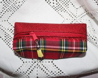 School Kit / makeup in tartan and yellow suede tassel red lurex