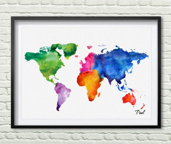 Colorful world map watercolor map canvas painting seven gumiabroncs Images