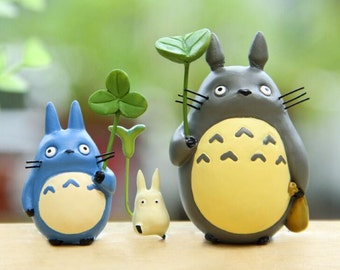 3pc Holding Leaves Totoro Figure Toys Collectibles Fairy Garden Decoration Tiny Landscape Miniature Fairies Display  OV182