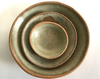 Ceramic Nesting Bowl Set, 3 Ash Green-Gray Stoneware Pottery Bowls