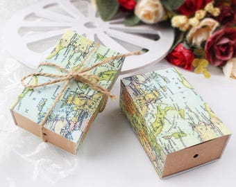 25x World map Boxes,Destination wedding, Travel Themed Party, Vintage Favor Box ,DIY Party favor, Birthday favor, Baby Shower