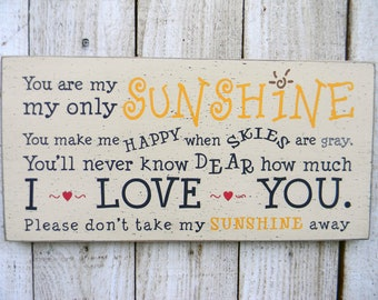 You are my sunshine typography word art wood sign