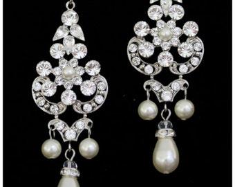 Chandelier Earrings Statement Wedding Earrings Swarovski Rhinestone Bridal Earrings Crystal Pearl Teardrop Vintage Wedding Jewelry CELESTE