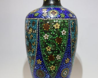 Beautiful Antique Brass Cloisonne Vase Blue and Green Mosaic Flowers Original