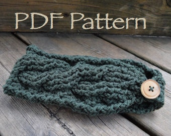 CROCHET PATTERN - The Twisted Cables Warmer - Headband - With Button - (PDF File)