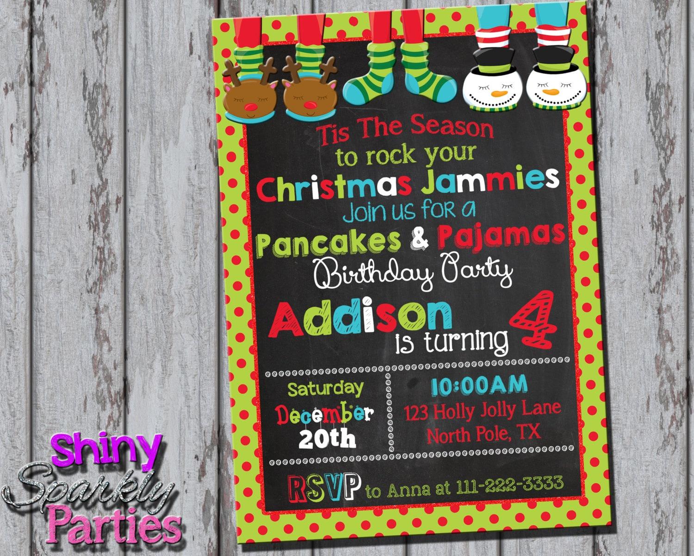 CHRISTMAS PANCAKES And PAJAMAS Party Invitation Pancakes And