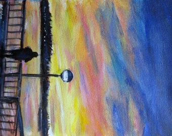 Seattle Winter Sunset Original Painting by Angie Ketelhut
