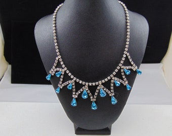 Vintage Signed Astra (Joseph Wiesner) Bib Necklace in Intense Aqua and Clear rhinestones