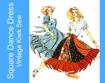 Rockabilly Square Dance Dress pattern square or sweetheart neckline, full circle skirt with ruffle Vintage Kwik Sew 914 Size 14-16-18-20