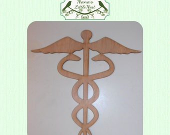 Caduceus / Medical Symbol  (Large ) Wood Cut Out -  Laser Cut