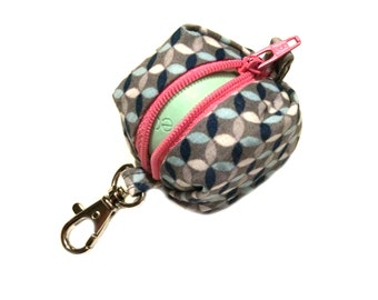 CUSTOM - EOS style lip balm holder zipper pouch with clip - for circle or egg shape lip balms - CUSTOM, you pick