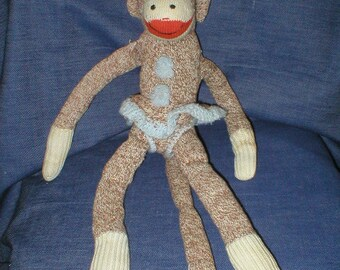50s handmade outfitted sock monkey