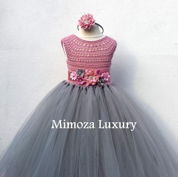 Dusty pink and grey flower girl dress tutu dress bridesmaid mightylinksfo