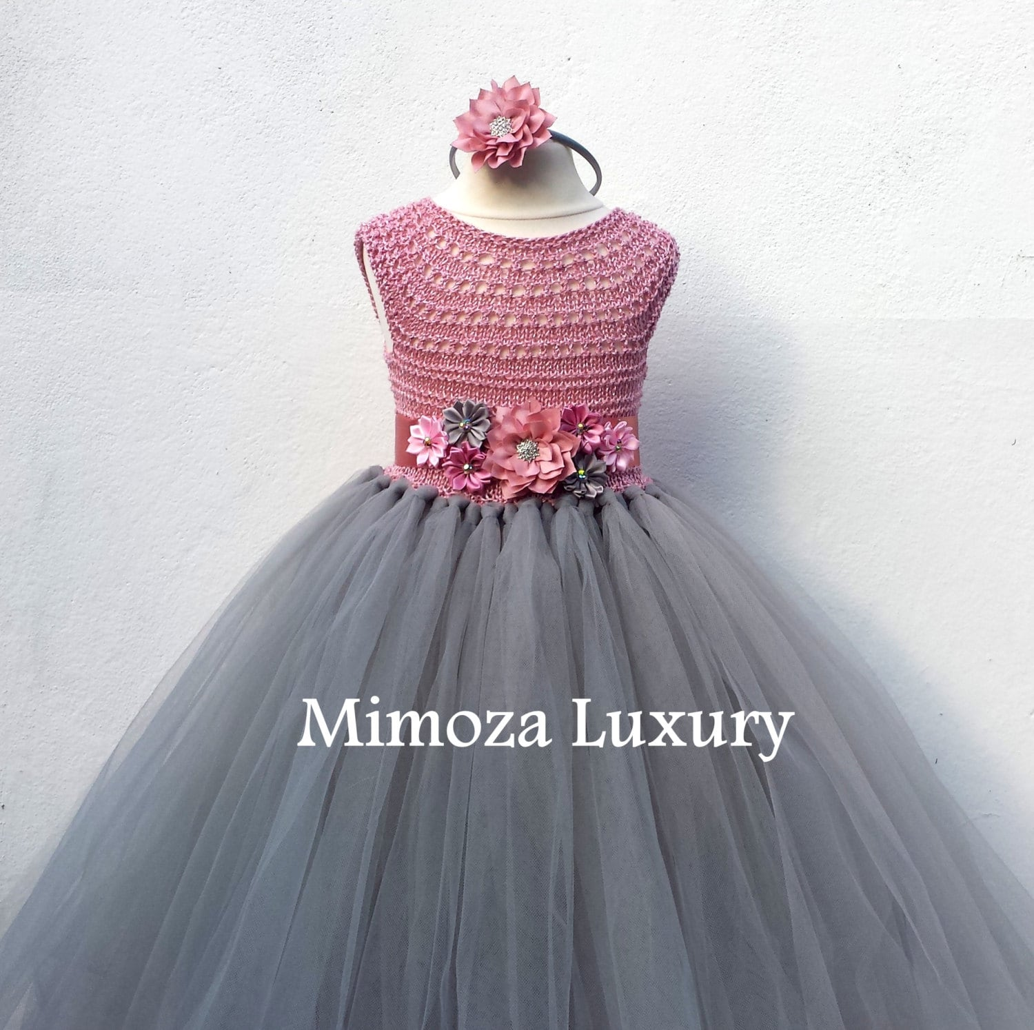 Dusty Pink And Grey Flower Girl Dress Tutu Dress Bridesmaid Dress