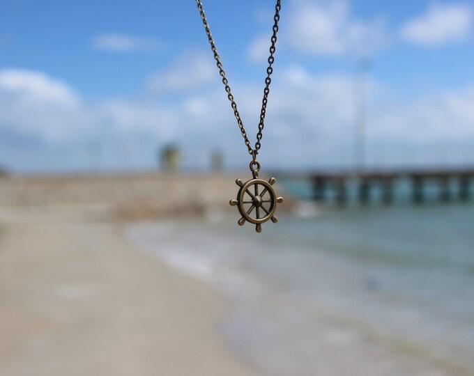 Nautical Bronze stern charm necklace.