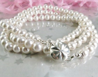 White Swarovski Pearl Necklace. Long Strand of Pearls perfect for your Wedding Jewelry,  Mother of the Bride or Groom