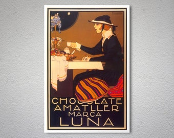 Chocolate Amatller Marca Luna  Vintage Food&Drink Poster - Poster Paper, Sticker or Canvas Print / Gift Idea