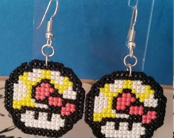 Bow Tie Cross Stitch Earrings/Necklace/Keyring