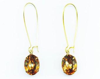 Vintage strass, boucles d'oreilles Swarovski, cristal Colorado Topaz boucle d'oreille ovale, cadeau pour les demoiselles d'honneur, cadeau pour elle - Champagne par enchantedbeas