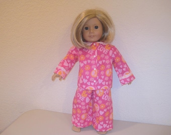 """18"""" doll pajamas to fit American Girl Dolls"""