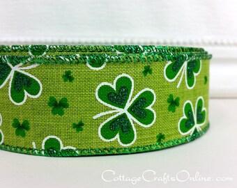 "St Patrick's Wired Ribbon, 1 1/2"", Shamrocks Green, Glitter on Faux Linen - THREE YARDS - ""Linen Shamrock 9"", Irish, St Patrick's Day Ribbon"