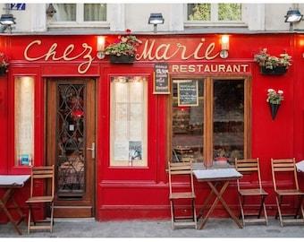Montmartre Bistro Canvas Print, Bright Red Chez Marie Restaurant, Paris Photography, Canvas Gallery Wrap, Large Wall Art