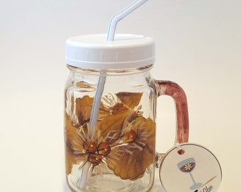 Hand Painted Pint Mason Jar With Autumn Leaves and Berries