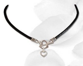 Entwined  Heart BDSM Collar Discreet Daytime Submissive Slave BDSM Collar Black BDSM Jewelry