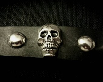After Life Accessories Repurposed Black Leather Band Metal Silver Skulls Bracelet