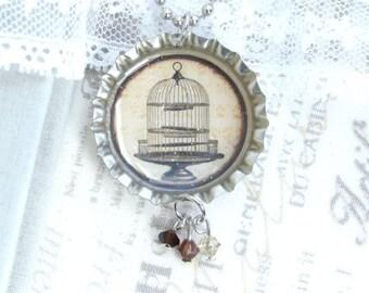 Vintage Birdcage Necklace Bottle Cap Necklace Nature Necklace Victorian Necklace Birdcage Jewelry
