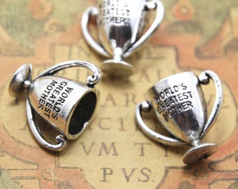 3pcs World's Greatest Mother Trophy charms silver tone World's Greatest Mother Pendants charms 24x20mm ASD1651