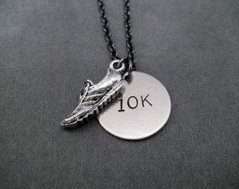 RUNNING SHOE 10K Running Necklace - Pewter Running Shoe and 10k Round Charm on Gunmetal chain - 10,000 Meters - 10k Road Race - Road Race