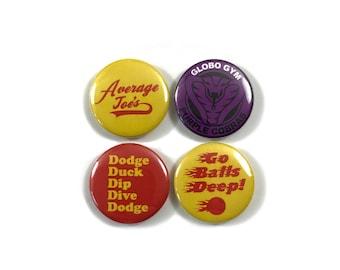 Dodgeball Movie Fan Art 4 1 Inch Button Set