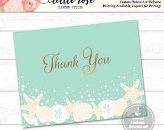 Printable Thank You Card - Beach Wedding - Thank You Notes - Bridal Shower - Wedding - Baby Shower - Any Occasion - LR1004