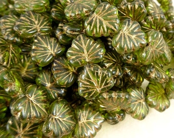 Czech Beads, Maple Leaf Beads, Czech Glass Beads - Olive Green Maple Leaf (L/RJ-2743) - 10x13mm - Qty. 8