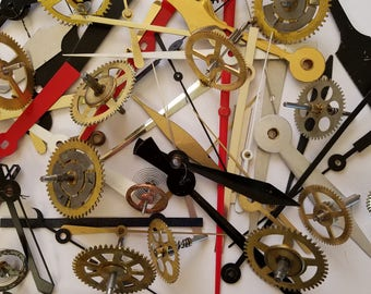 Vintage clock hands and gears lot