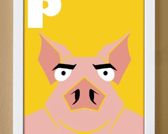 alphabet letter P, pig, custom colors, alphabet letter print, children's letter art, barnyard nursery, farm theme nursery, 4X6, 5X7, 8X10