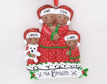 Brown Family of 4 in Pajamas Personalized Christmas Ornament / African American / Family Ornament / Personalized Ornament