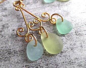 Chandelier Earrings// Sea Greens// Genuine Seaglass