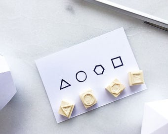 Geometric shapes rubber stamps, hand carved rubber stamp, abstract, triangle, circle, square, hexagon