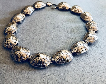 AUTHENTIC KIESELSTEIN CORD Sterling Silver Turtle - necklace/choker