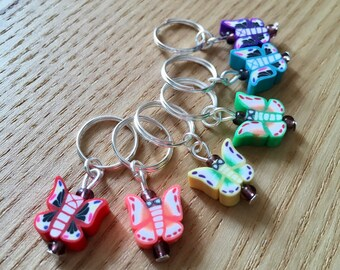 Knitting Stitch Markers Set, Snag Free Stitch Markers, Polymer Clay Stitch Markers, Butterfly Stitch Markers, Knitting Tools, Gift Knitters
