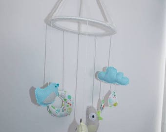 """""""Bird, cloud and Moon"""" sky theme Mobile for baby. Birthday gift idea. Educational game."""