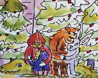 New Years Embrace Greeting Card, By Michelle Kogan, Watercolor, Holiday Card, Christmas, Hanukkah, Holiday Card, Children's Illustration